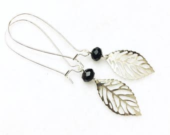 Flirty, black crystal and silver, bohemian, feather earrings by Jules Jewelry Box