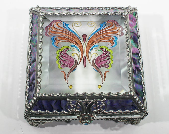 Etched, Hand Painted, Victorian, Butterfly, Stained Glass Box, Jewelry Box, Jewelry Storage, Memory Box