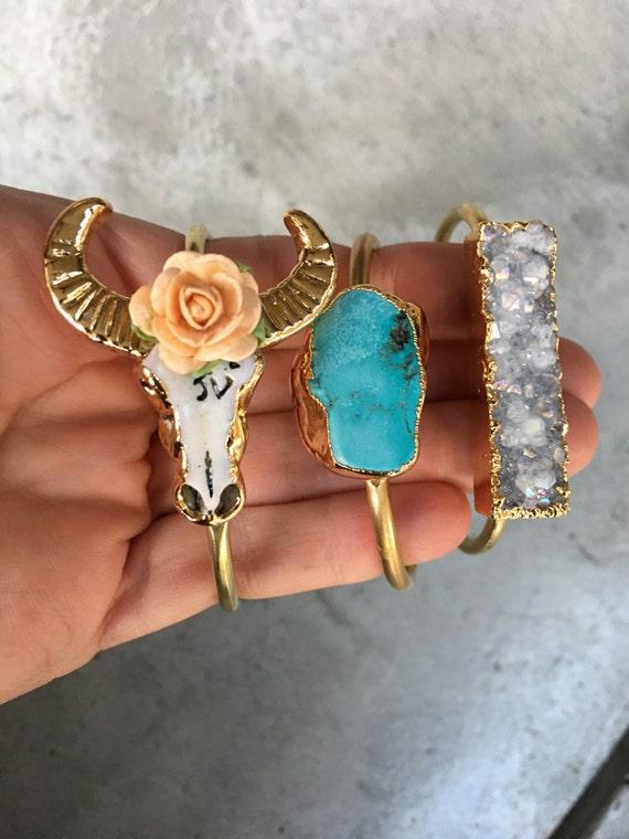 Druzy Turquoise Longhorns cuff bracelet