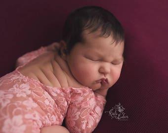 Bubblegum Bubblegum - newborn long sleeve romper in a beautiful textured bubblegum pink blush stretch lace (RTS)