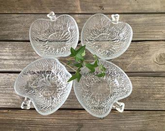 Set of 4 glass apple dessert/ salad  bowls