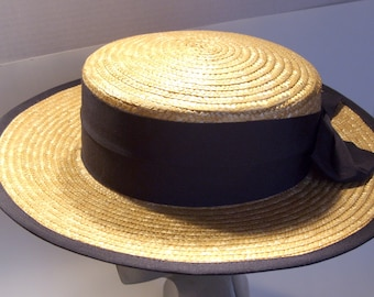 Laura Ashley Nautical Summer Straw Boater Hat Navy Ribbon  NOS Original Tags Made in Great Britain
