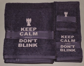 RTS Purple Weeping Angel & Don't Blink Embroidered Bath Towel set Dr Doctor Who Bathroom Dr who gift