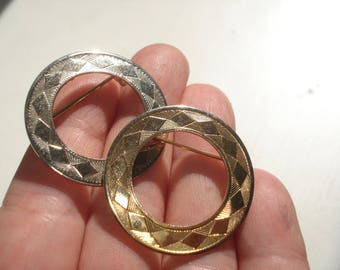 Two Round Gold and Silver Tone Brooches - Circular Pin - 1980s