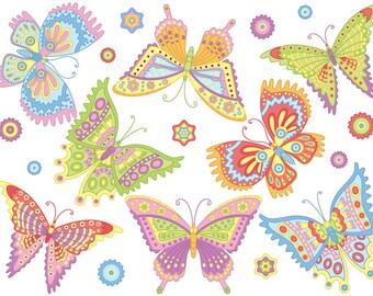 Butterfly Clipart - Digital Vector Butterfly, Insect, Garden, Bug, Butterflies Clip Art