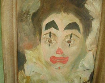 Vintage Mid-Century Clown Oil Painting, Original Signed Painting, 15 x 19, Sad Clown, Scary Clown