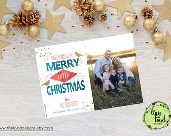 Watercolor with Gold Have Yourself a Merry Little Christmas Holiday Cards, Christmas Cards, DIY Printable, digital file (item 1526)