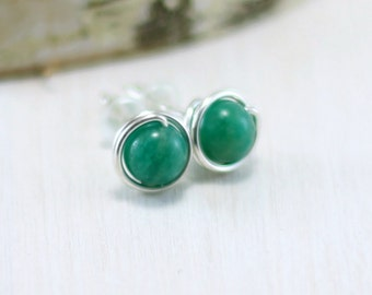 Russian Amazonite Earrings, Sterling Silver Blue Green Gemstone Stud Earrings Wire Wrapped Amazonite Post Earrings