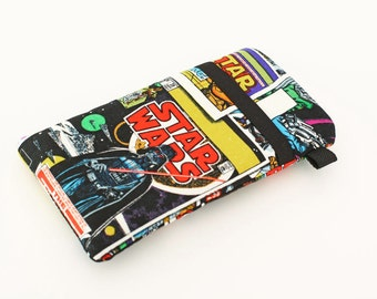 iPhone 7, 6 Sleeves, Smartphone Pouch, Fabric Cell Phone Wallet, Galaxy S7 Egde Cover, Handmade Motorola Droid Case  - Star Wars