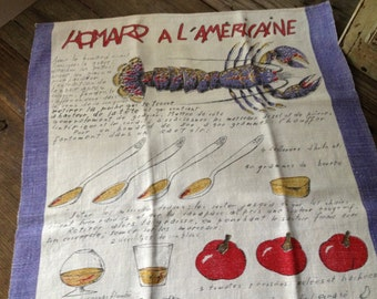 Linen Torchon Decorative Dish Towel Souvenir French Homard al Americaine Lobster Recipe French Cuisine