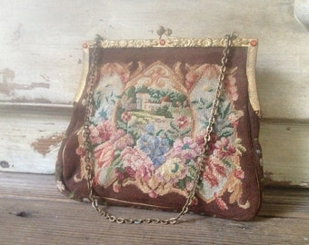 Tapestry Handbag Floral Petit Point Jeweled Gold Frame Evening Clutch