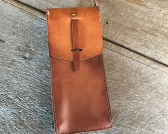 French Leather Hip Pouch, Hip Belt Bag Case, Mid Century, Tool Case
