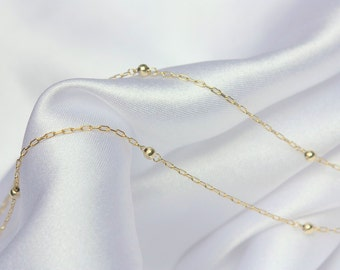 Thin Gold necklace, Dainty Beaded Satellite Chain, Gold Dot Chain , 14k Gold Fill Chain, Dainty Gold Chain Choker Necklace , Silver choker