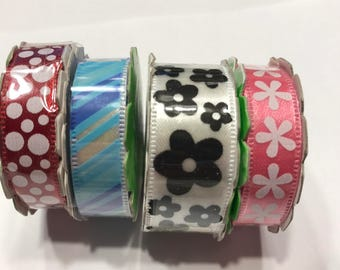 set of 4 self adhesive  ribbons embellishment, (HR49)