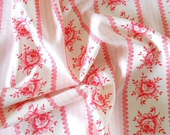 vintage floral fabric patchwork fabric quilting fabric antique pink flowers french fabric vintage french pink floral fabric  204