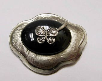 On Sale Retro Distressed Metal and Black Stone Butterfly Pin Item K # 618