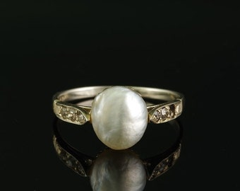 ON SALE A superb Edwardian large natural Basra pearl and diamond solitaire ring
