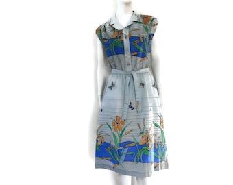 NOS Daffodil Print Dress Vintage Hawaiian by Royal Palm Old Store Dead Stock sz L #132
