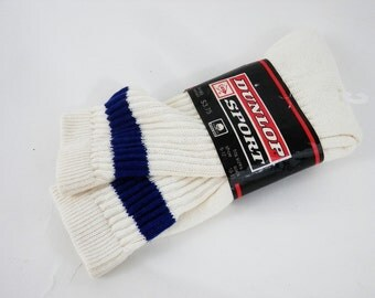 80's Tube Socks with One Vertical Strip by Dunlop Sport Mens sz 10-13 Made in the USA