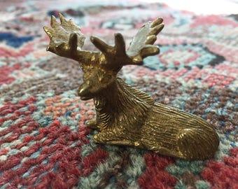 Vintage Brass Moose Statue- Vintage Brass Moose Figurine