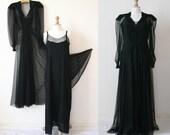 Vintage 1930's Long back dress, Chantilly silk lace, silk slip matched.