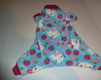 Small, Medium, Large Fleece Doggy Pajamas, Hello Kitty Pajamas, Hello Kitty Onesies,  Strawberry Kitty ,Spring Kitty PJs