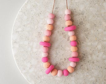 Beaded Necklace in Shades of Pink - Handmade Polymer Clay Beads - Limited Edition - Adjustable