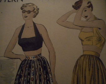 Vintage 1940's Vogue 6769 Halter and Skirt Sewing Pattern, Size 12 Bust 30