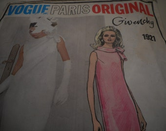 Vintage 1960's Vogue 1921 Paris Original Givenchy Dress Sewing Pattern, Size 12 Bust 34