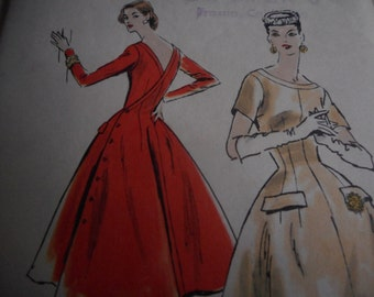Vintage 1950's Vogue 8814 Wrapped Back Dress Sewing Pattern, Size 14 Bust 32