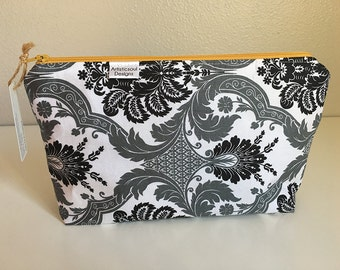 Makeup Bag, Grey Damask  -- Zipper Cosmetic Bag