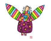 Painting / Art Print / Unique Gift / Parents Children Kids  / Nursery Baby Girl's Room / Angel Inspirational Wall Art / Joy