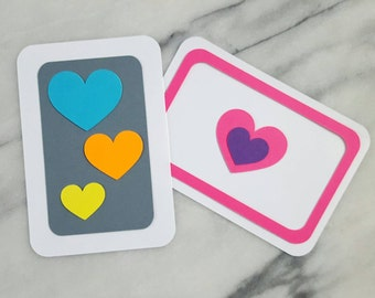children's neon hearts diy valentines card making kit  - makes ten flat cards