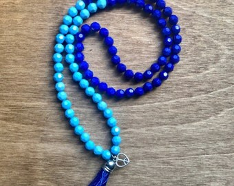 Kids Mala Necklace, Dark Blue & Light Blue, Kids Mini Mala Beads, Intrinsic Journeys, Kids Prayer Beads,