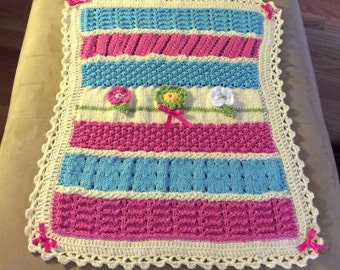 Beautiful, Colorful Baby Girl Car Seat,  Stroller, or Snuggle Knit Blanket