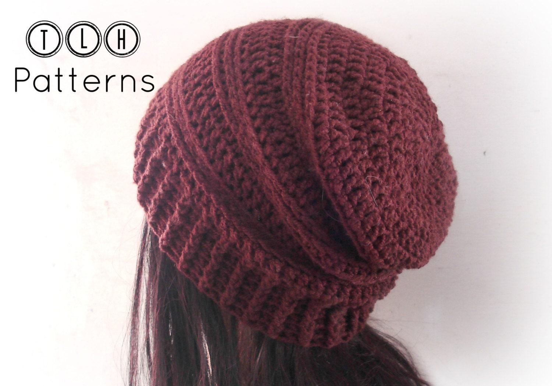 Crochet Hat Patterns Slouchy Beanie Hats : CROCHET PATTERN slouchy hat pattern crochet slouchy beanie