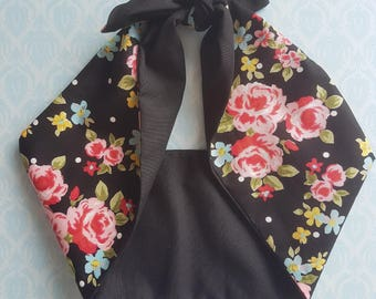 black rose black vintage 50s style rockabilly  bandana,  rockabilly pin up psychobilly  hairband headband