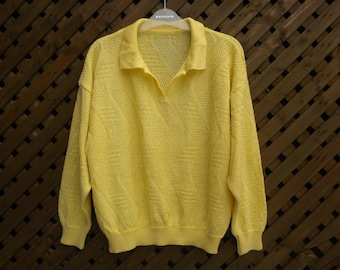 Vintage 80s Lemon Yellow Collared Sweater Embossed Hearts and Zig Zag Spring Sweater Medium