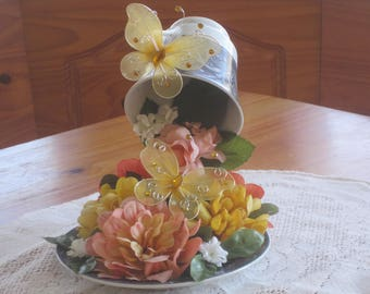 Floating  Botanical Tea Cup Floral Arrangement   Cascading Tea Cup Floral Arrangement   Recycled Home Decor