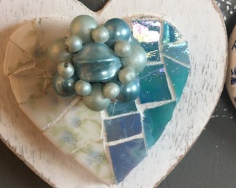 SHABBY COTTAGE MOSAIC Heart Magnet - Vintage Limoges China - Aqua Stained Glass- Vintage Cluster Ear Ring