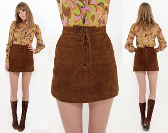 Vtg 60s Suede Lace Up Mini Skirt S