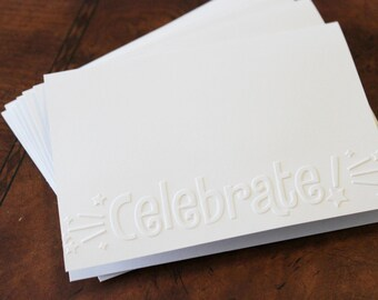 Celebrate card set, set of eight embossed cards in white, perfect birthday card, celebration card, retirement, graduation, engagement