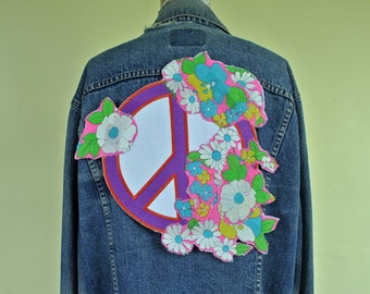 Peace Sign Back Patch Vintage Sixties Psychedelic Flowers Pink Purple Orange Boho Hippie Style Easy Iron-on