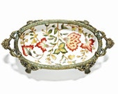 Vintage, Chinese, Pin Dish, Trinket Dish, Porcelain and Brass, Stunning Hand Painted Asian Dish