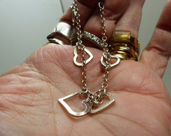 """Sterling Silver Heart Charm Bracelet- small- about 4.6 grams-  7""""- lobster claw-hallmarked-hearts 10X10mm 1828"""