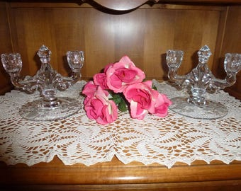 Pair of Vintage Heisey Rose Pattern Crystal Double Candlestick Holders