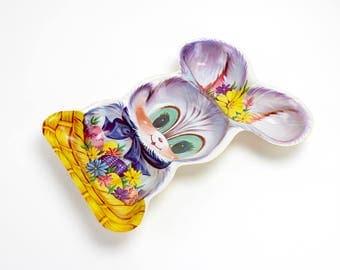 Vintage Plastic Easter Tray, Molded Plastic Bunny, Snack Tray, Easter Bunny, Springtime Tray, Easter Plastic Decor, Purple Rabbit, Epsteam