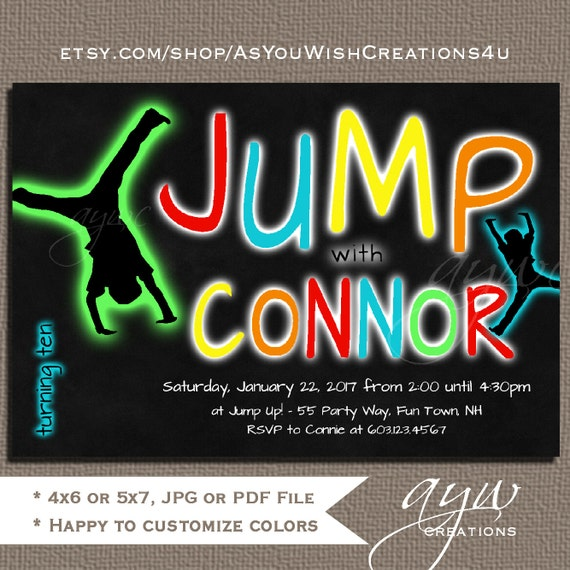 Trampoline Party Invitations: Jump Birthday Party Invitations Trampoline Invitation Party