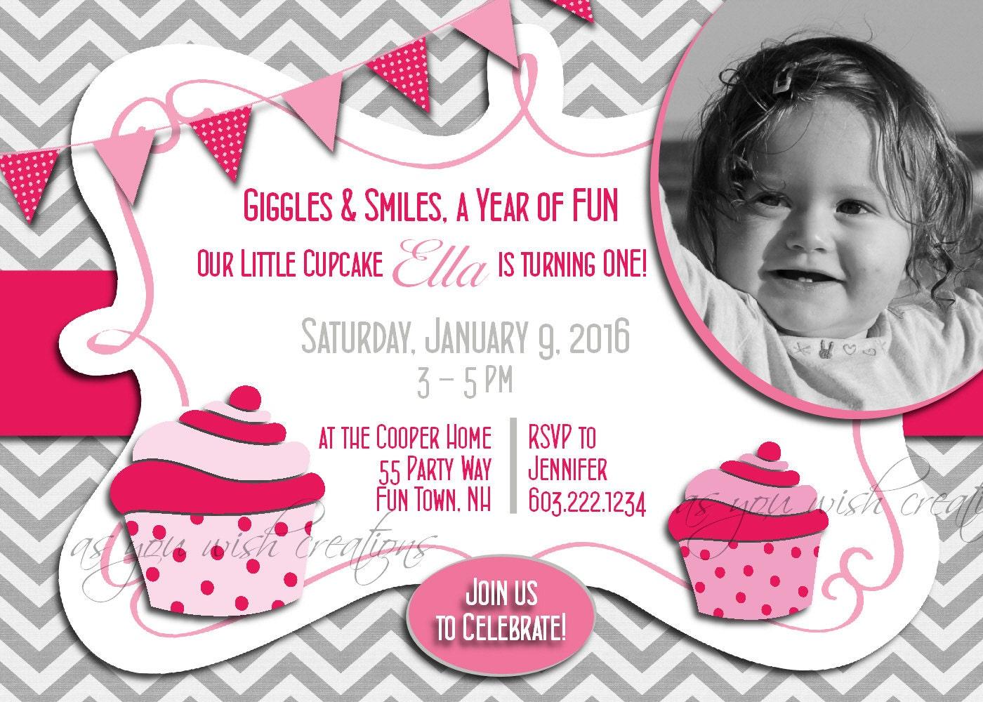 Cupcake Birthday Invitation Cupcakes Party Cupcakes Invitation