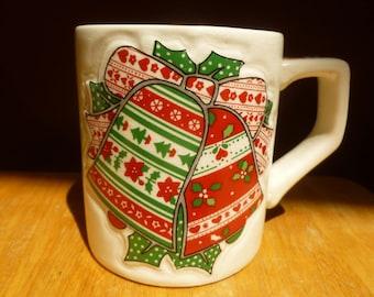 Enesco Christmas Bells mug Quilted Garden Patch 1983